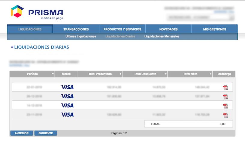 Liquidaciones Diarias Visa Prisma